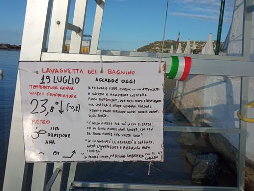 Sanremo: oggi la 'Lavagnetta del Bagnino' agli 'Euro Nettuno' è dedicata all'anniversario della strage di Palermo