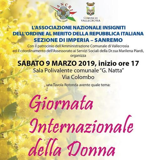 Vallecrosia: oggi pomeriggio incontro alla Sala Polivalente per la 'Giornata internazionale della donna'