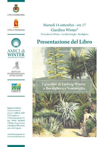 Domani all'Arziglia la presentazione del libro sui giardini Winter a Bordighera e Ventimiglia