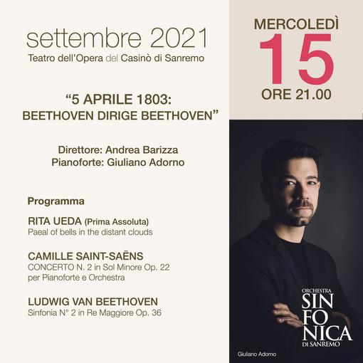 """Sanremo: domani al Casinò il concerto della Sinfonica """"5 Aprile 1803: Beethoven dirige Beethoven"""""""