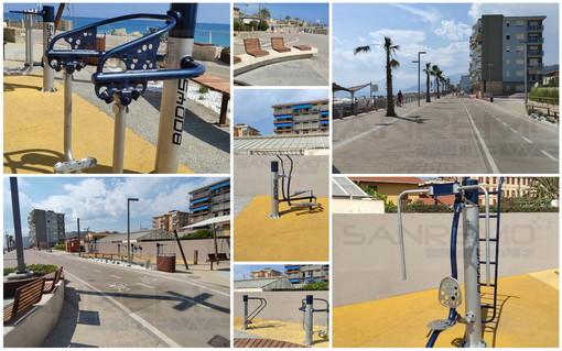 Vallecrosia: da ieri in funzione, ecco la pista ciclabile e la palestra all'aperto del nuovo waterfront (Foto e Video)