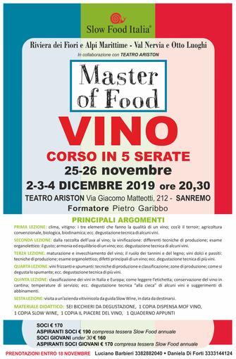 Le Condotte Slow Food Riviera dei Fiori Alpi Marittime e Val Nervia e otto Luoghi in collaborazione con il Teatro Ariston di Sanremo organizzano un master of food vino