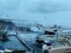 La mareggiata al porto di Bordighera