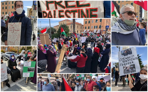 Imperia: uomini, donne e bambini in piazza per dire 'no' alla guerra israelo-palestinese (Foto e Video)