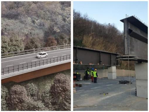 Completate le spalle del nuovo viadotto 'Madonna del Monte' su cui poggerà l'impalcato in acciaio sull'autostrada A6 ad Altare (Foto)