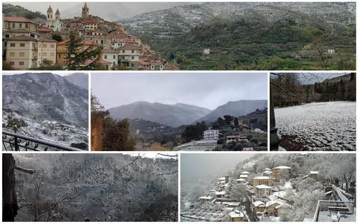 L'entroterra di Sanremo imbiancato e, sotto, la neve a Triora, Ceriana, San Romolo, Colle Melosa e Bajardo