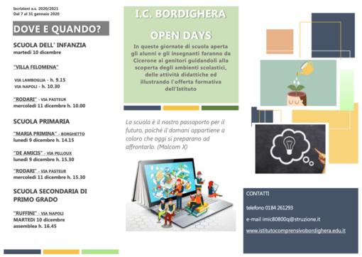 Tre giorni di open day per scoprire l'Istituto Comprensivo di Bordighera e la sua offerta formativa