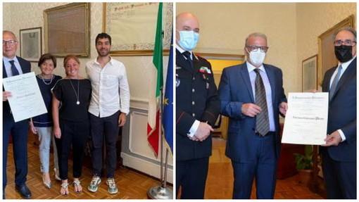 Consegna del Prefetto: i Carabinieri Piras e Giordano sono Cavalieri al Merito della Repubblica Italiana