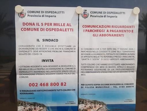Ospedaletti: ritornano a pagamento i parcheggi su strisce blu e dal Comune invitano a devolvere il 5x1000