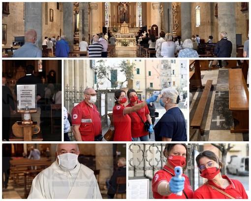 Sanremo: ecco la prima Messa domenicale a San Siro, tutto fila liscio con i volontari all'ingresso (Foto e Video)