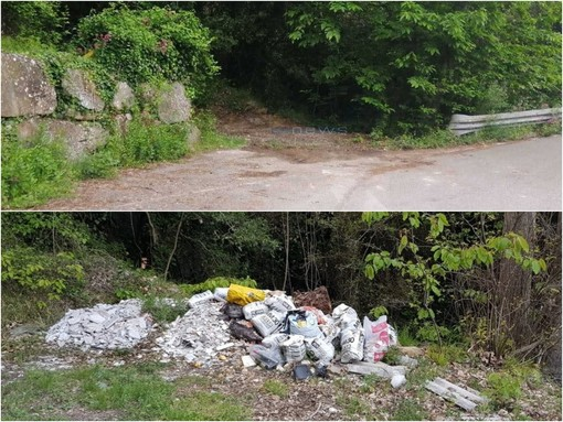 L'area ripulita in strada Monte Ortigara