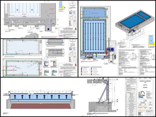 Il progetto della piscina all'interno del Palazzetto dello Sport