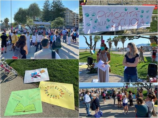 Il movimento nazionale 'Priorità alla Scuola' scende in piazza anche a Sanremo: genitori e piccoli studenti manifestano a Pian di Nave