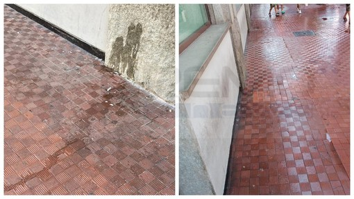 Ventimiglia: marciapiedi lordati in via Repubblica, intervento di pulizia e situazione migliorata (Foto)