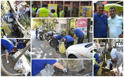 Sanremo: 'Clean up the World' in corso Garibaldi, strada pulita ma aiuole invase dai mozziconi (Foto)