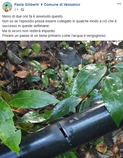 """Mancanza d'acqua a Vessalico, il Sindaco posta la foto di un tubo rotto: """"L'episodio non resterà impunito"""""""