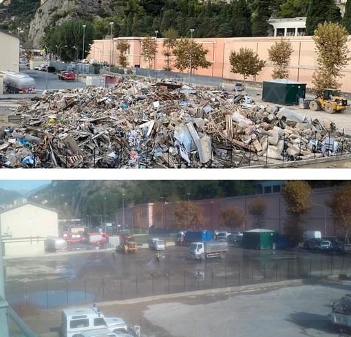 Ventimiglia: dopo tante ore di lavoro liberato il parcheggio di fronte al Cimitero di Roverino (Foto)