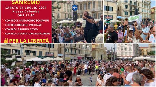A Sanremo la protesta 'Basta dittatura!': in 250 contro l'obbligo del green pass (foto e video)