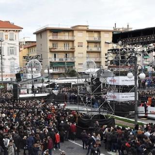 Il palco di piazza Colombo, simbolo del 70° Festival di Sanremo