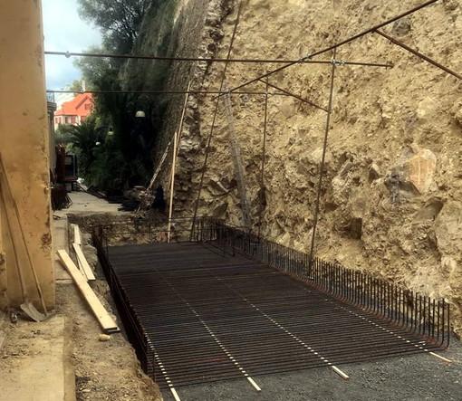 Bordighera: proseguono i lavori ai muri di sostegno di Villa Regina Margherita, via Coggiola e via dei Colli
