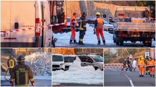 Sanremo: fuga di gas nella zona de 'La Vesca', operai al lavoro ma la strada non riaprirà prima di domattina