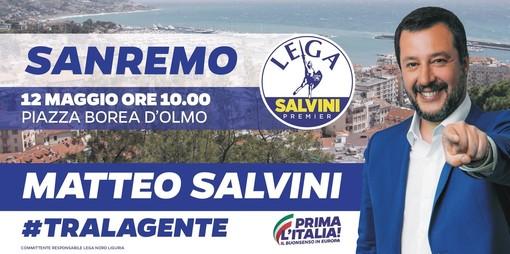 Il leader della Lega Matteo Salvini farà l'unico comizio nella nostra provincia domenica a Sanremo