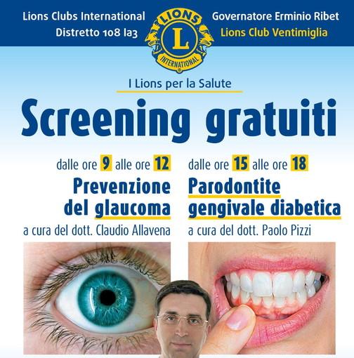 Sabato prossimo a Sant'Agostino appuntamento con due screening sanitari del Lions Club Ventimiglia