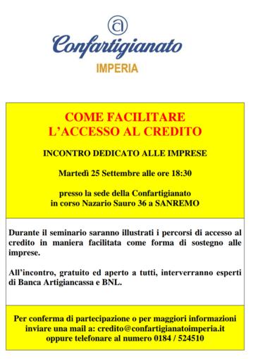 """Sanremo: martedì 25 settembre alla Confartigianato il seminario """"Come facilitare l'accesso al credito"""""""