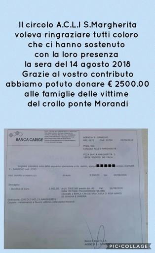 """Sanremo: crollo del ponte """"Morandi"""", l'A.C.L.I. di Poggio dona 2.500 euro alle famiglie delle vittime e pone fine alle polemiche"""