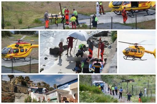 Sanremo: giovane cade sulla scogliera nella zona dei 'Tre Ponti', non è grave. Trasportato in elicottero (Foto e Video)