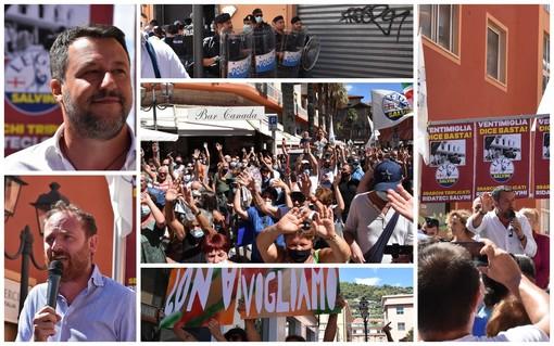 """Ventimiglia: Salvini sulle Regionali """"Vinciamo tanti a pochi"""", al comizio distanziamento sociale inesistente e poche mascherine (Foto e Video)"""