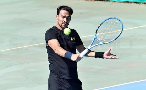 Sanremo: allenamento al Tennis Club Matuzia per Fabio Fognini, con lui in campo Thomas Fabbiano (Foto)