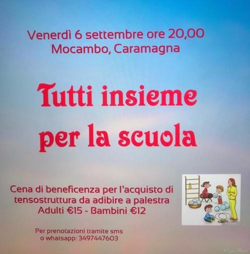 Caramagna: venerdì 6 settembre cena di beneficenza per l'acquisto di tensostuttura da adibire a palestra per la scuola Primaria