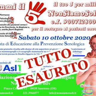 Bordighera: tutto esaurito per la 'Giornata di Educazione alla Prevenzione Senologica' del 10 ottobre