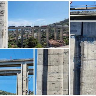 Sanremo: degrado del cemento e del ferro sul viadotto San Pietro della A10, il timore dei residenti (Foto)
