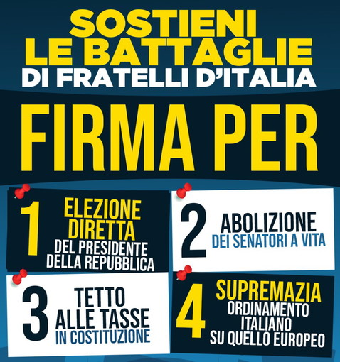 Fratelli d'Italia: anche a Ventimiglia  la raccolta firme per sostenere le 4 proposte di legge di iniziativa popolare