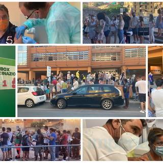 Imperia: dopo il boom di ieri a Sanremo anche stasera lunghe code al Palasalute per fare il vaccino (foto)