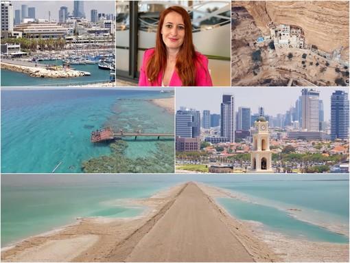 Le immagini del nuovo video promo; al centro Kalanit Goren Perry, direttrice dell'Ufficio Nazionale Israeliano del Turismo