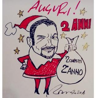 La vignetta che celebra l'inizio del 2° anno di '2 ciapetti con Federico'