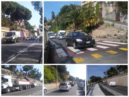 Imperia: qualche disagio per gli asfalti in viale Matteotti e sul lungomare Vespucci (foto)