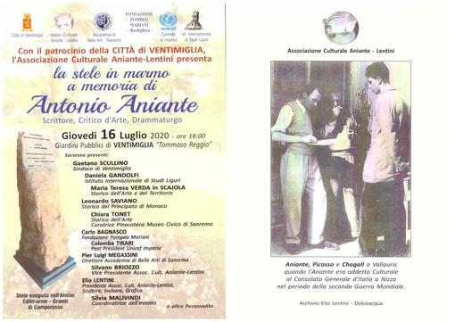 Ventimiglia, domani la cerimonia in memoria di Antonio Aniante