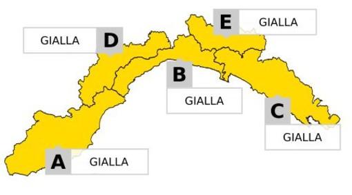 Allerta gialla per temporali sulla provincia di Imperia fino a mezzanotte