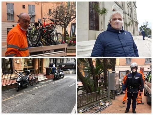 """Imperia, biciclette abbandonate in piazza Bianchi rimosse dalla polizia locale. Gagliano: """"La nostra task force prosegue nell'azione di ripristino del decoro urbano"""" (foto)"""