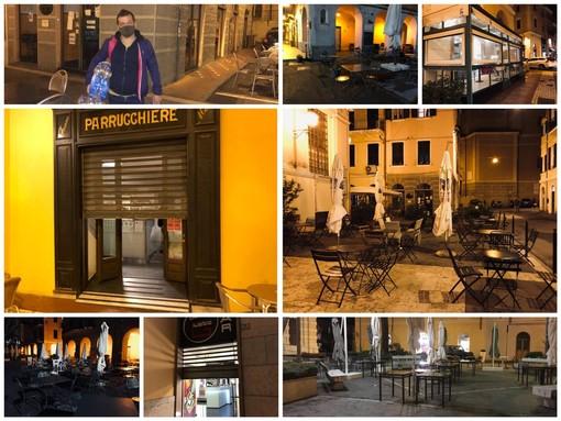 Coronavirus, Imperia: alle 18 in punto la chiusura di bar e ristoranti e la città ripiomba nel silenzio (foto e video)