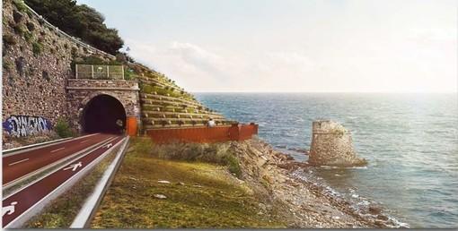 """Imperia, pista ciclabile: Abbo (Imperia al Centro) """"Passerelle panoramiche progettate in versanti franosi"""""""