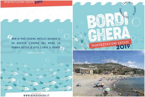 Bordighera: depliant manifestazioni estive, la citazione in quarta di copertina scatena l'ironia sui social, la sabbia sembra non essere una caratteristica delle spiagge bordigotte