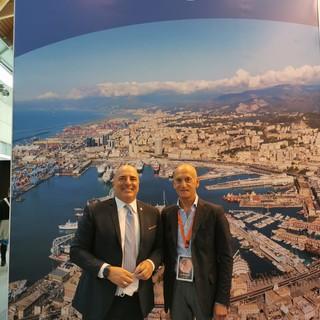 Da sinistra l'assessore regionale al turismo, Gianni Berrino e il presidente di Confesercenti Imperia Ino Bonello