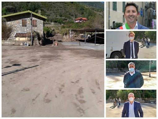 """Maltempo, Badalucco: sopralluogo del Sottosegretario Traversi e del M5S. Il sindaco Orengo: """"Non basta lo stato d'emergenza. Serve una legge per la pulizia ordinaria degli alvei dei torrenti"""""""