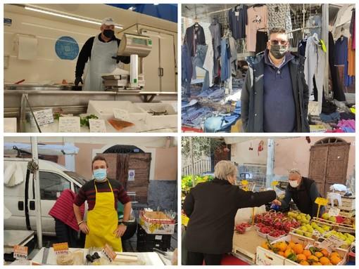 """Un 'assaggio' di normalità a Pieve di Teco, ritorna il mercato. Gli ambulanti: """"Ripartiamo con entusiasmo, il nostro è un servizio essenziale"""" (Foto e Video)"""