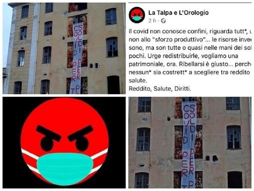 """Imperia, """"Covid per tutti, soldi per pochi"""", azione dimostrativa de 'La Talpa e l'Orologio"""": appeso uno striscione di protesta all'ex Sairo (Foto)"""